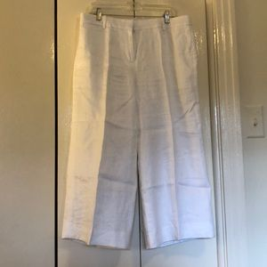 J. Crew size 10 white linen wide cropped pants
